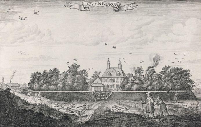 Ockenburgh in 1654. Gravure van Adriaen Matham naar een tekening van Arent Ravesteyn.