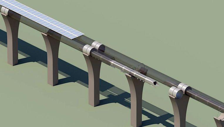 Een conceptueel ontwerp van SpaceX toont de structuur van een Hyperloop. Het bedrijf van Elon Musk gaf de aanzet, Hyperloop One probeert de technologie nu werkelijkheid te maken in Dubai en andere steden. Beeld AP