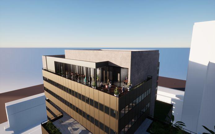 Ook Microlab Rotterdam, de tweede vestiging van het Eindhovense flexkantoor, krijgt een skybar, net als de eerste op Strijp-S. Ontwerp: Kraaijvanger Architects.