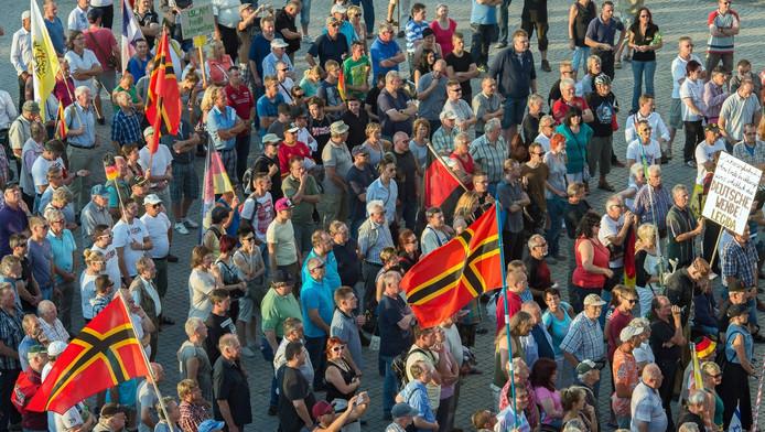 Aanhangers van de anti-islambeweging Pegida demonstreerde eerder dit jaar in de Duitse stad Leipzig