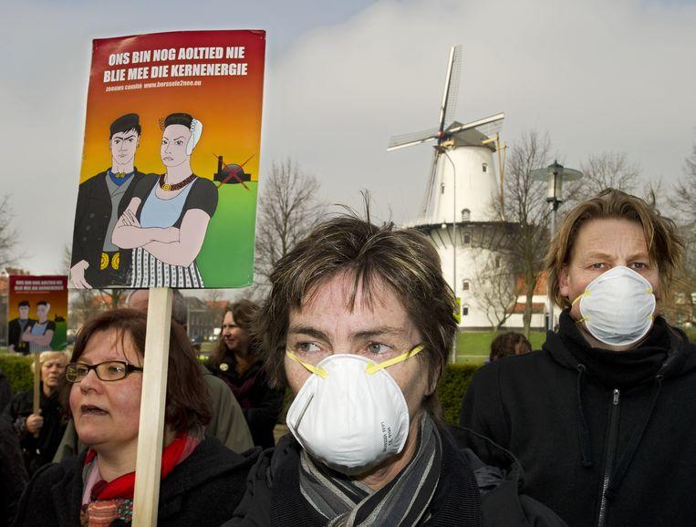 Protestmars tegen kernenergie in Middelburg. Beeld ANP