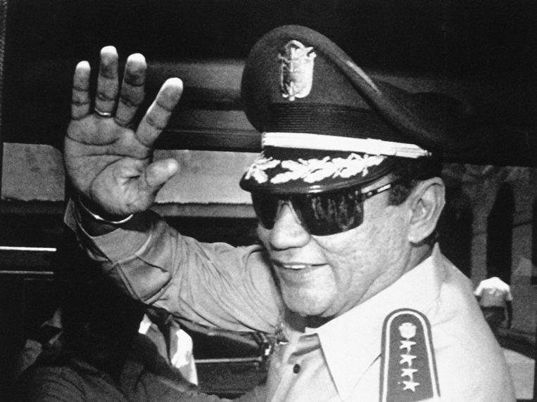 Dictator Noriega in 1989 in Panama-Stad. Beeld AP
