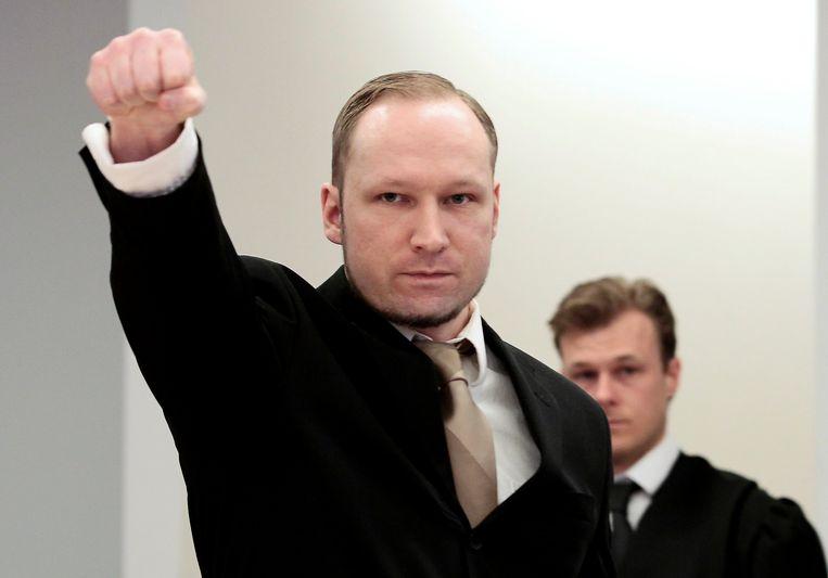 Anders Behring Breivik tijdens zijn proces in 2012. Beeld AP