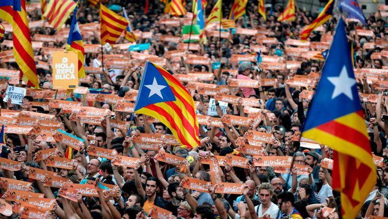 Catalaanse betogers gingen en masse de straten op. Beeld epa