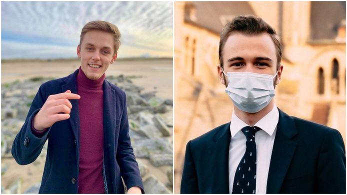 Louka Vanhyfte (links) en Frederik Goossens staan zijn respectievelijk politiek secretaris en voorzitter van Jong VLD Gent.