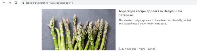 Ook op de site van de Britse BBC dook het recept op.