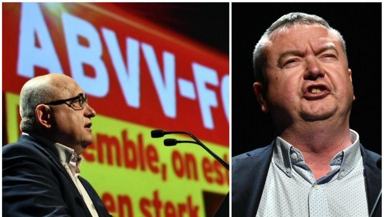 Voorzitter Rudy De Leeuw. Foto rechts: Robert Vertenueil uit Nijvel, de nieuwe nummer twee van het ABVV-FGTB. Beeld belga