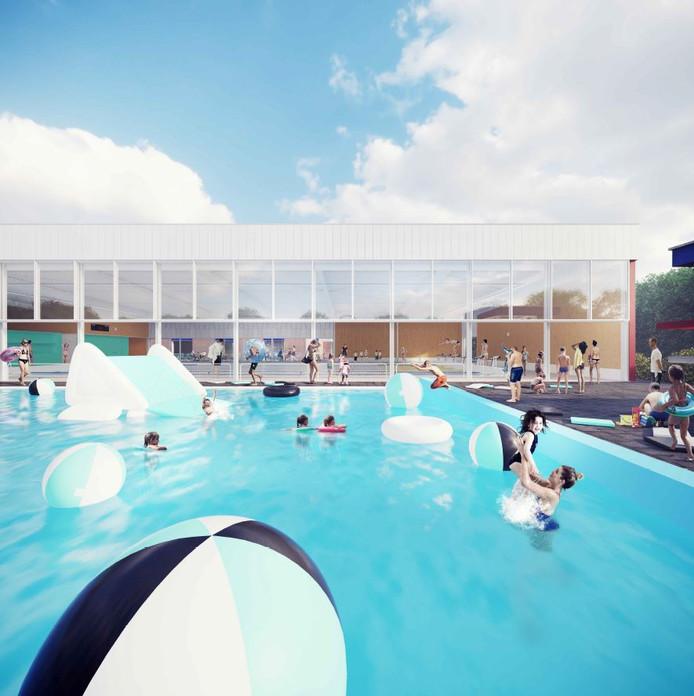 Impressie van de nieuwbouw die is gepland bij zwembad Kwekkelstijn.