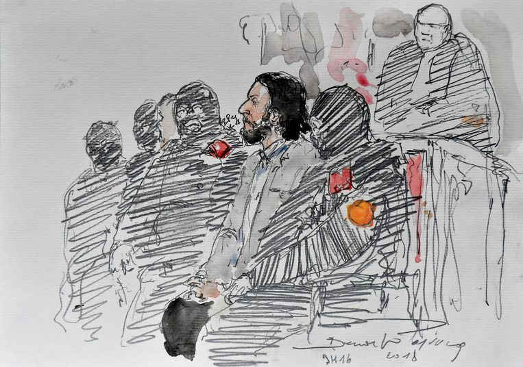 Een schets van Abdeslam in de rechtbank in Brussel. Beeld AFP