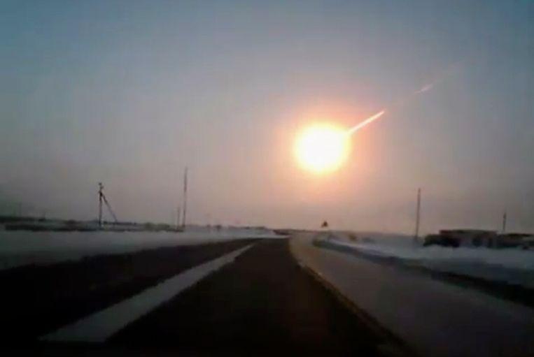 De meteorietinslag in februari in de buurt van Chelyabinsk. Beeld AP