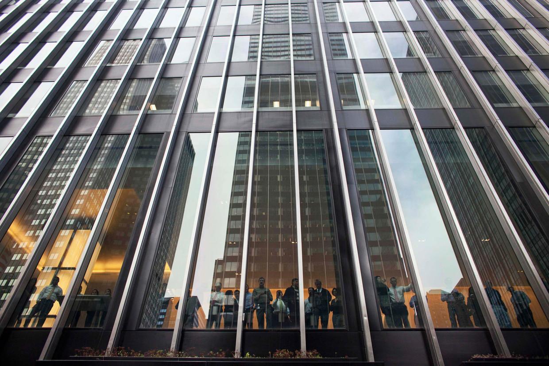 Werknemers in het New Yorkse JP Morgan-hoofdkwartier.