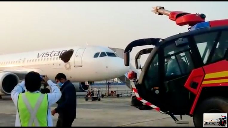 Niet alleen wespen spelen de luchtvaart parten. Een zwerm bijen streek afgelopen weekeinde neer op een Airbus A320 Neo van de luchtvaartmaatschappij Vistara op het vliegveld van Kolkata in India. Op YouTube was te zien hoe de brandweer de bijen verjoeg. Beeld YouTube