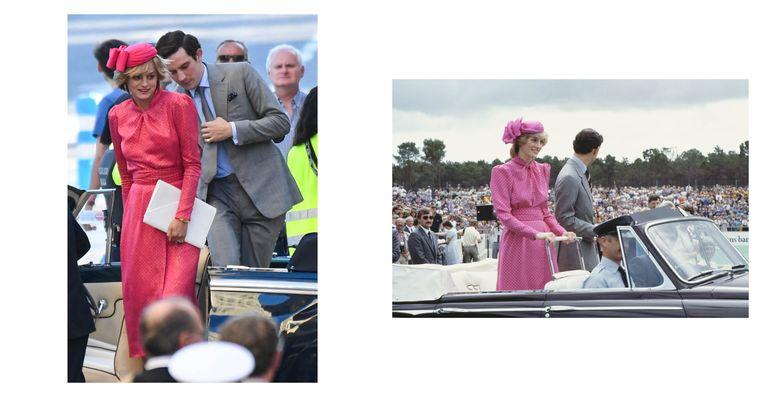 Links: still uit de serie. Rechts: Prins Charles en Diana bij het Perth Hockey Stadion in Perth, op 7 april 1983. Diana draagt een roze pakje van Donald Campbell. Beeld Getty/Gtres