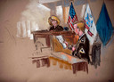 Een rechtbanktekening van vorige week toont Bradley Manning voor de militaire rechter.