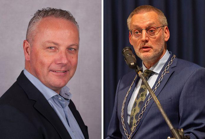 VVD-fractievoorzitter Ruud Jager (l) maakt zich grote zorgen over het lage vertrouwen van burgers in de gemeente Epe. Burgemeester Tom Horn betwijfelt of het daar echt zo slecht mee is gesteld.