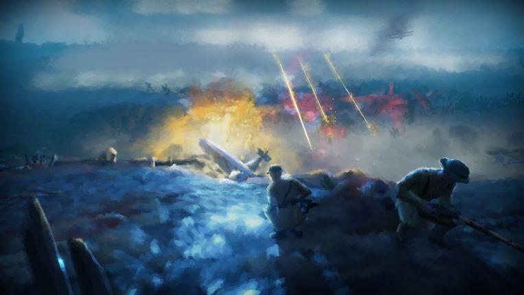 Een oorlogsscène uit de game. Beeld Bandai Namco