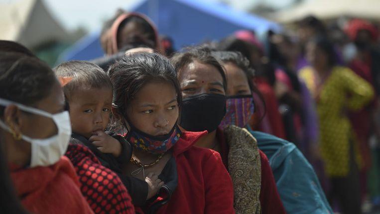 Een opvangkamp in Kathmandu. Beeld afp