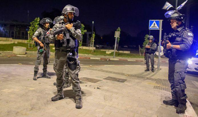 Israëlische veiligheidstroepen in Lod.