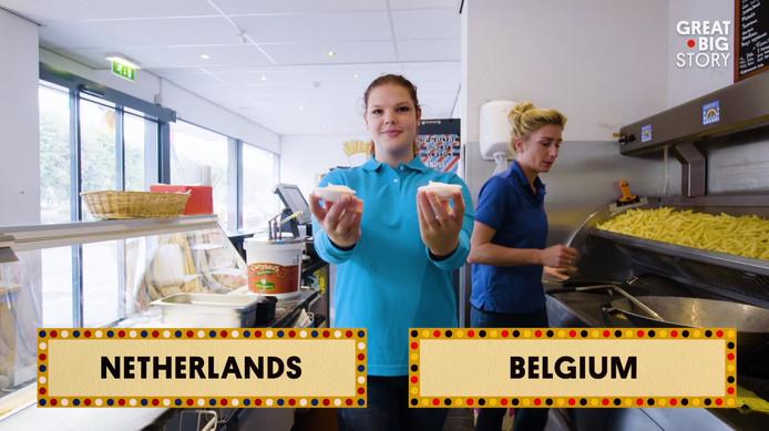 Er zijn in Baarle 'zelfs' twee soorten mayonaise te koop: frietsaus en Belgische mayonaise.