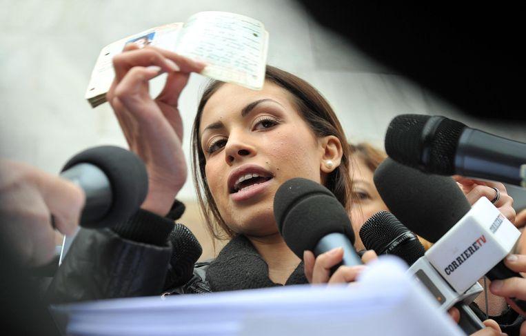 Ruby in april 2013 voor de rechtbank in Milaan. Beeld EPA