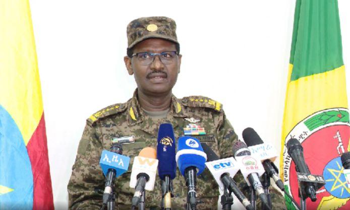 Stafchef generaal Birhanu Jula tijdens zijn verklaring, vanavond, dat het Ethiopische leger de volledige controle heeft over de stad Mekkele.