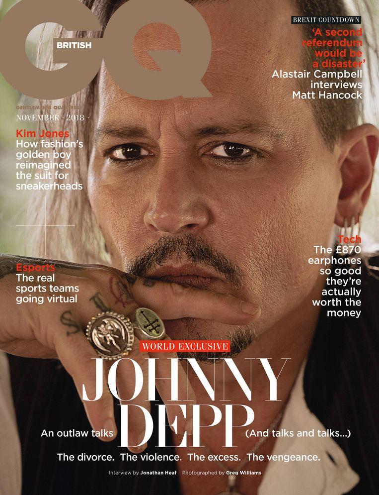 Johnny Depp op de cover van de Britse GQ