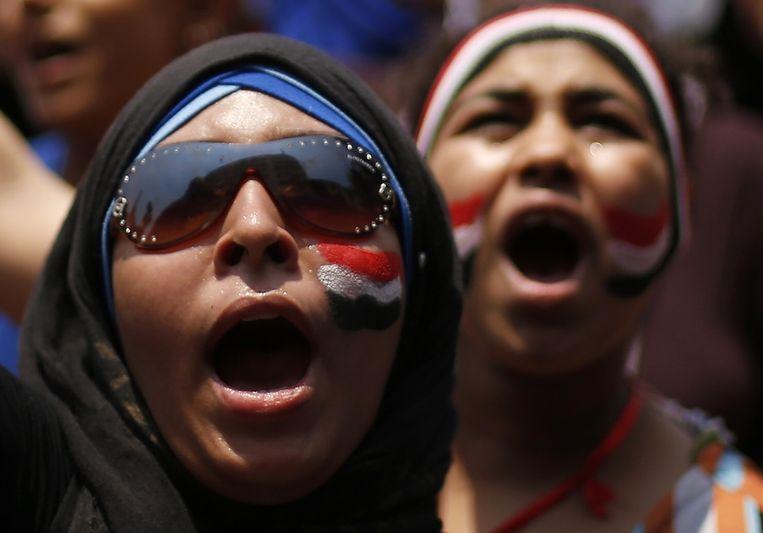 Demonstranten op het Tahrirplein Beeld null