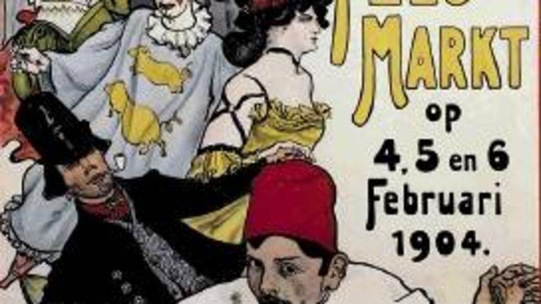 Ontwerp van Martin Monnickendam voor een affiche voor een feestmarkt in februari 1906 ter gelegenheid van het 26-jarige verblijf van koningin-moeder Emma in Nederland. Aquarel op papier. (COLL. STADSARCHIEF, AMSTERDAM) Beeld