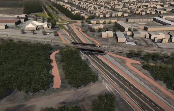 Een van de ontwerpen voor de aansluiting van het snelfietspad bij Vijf Eiken via een fietsviaduct. Zie verderop voor de huidige variant.