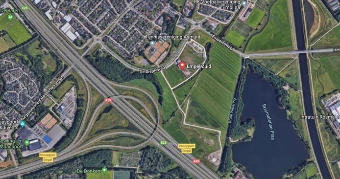 Het gebied tussen Empel en de Rosmalense Plas  gezien vanuit de lucht.