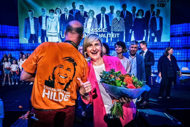 Hilde Crevits op het CD&V-congres in Genk. Beeld Tim Dirven