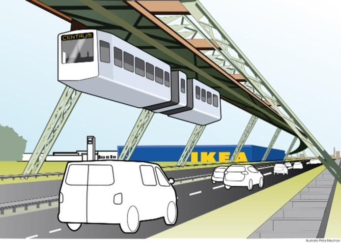 Een art impression van hoe de zweeftrein richting IKEA zou gaan.