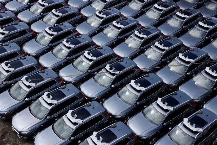 Zelfrijdende Volvos van Uber in Pittsburgh. Archiefbeeld.
