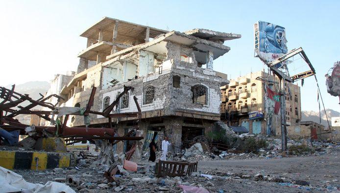 Foto ter illustratie. Jemen wordt verscheurd door oorlog.