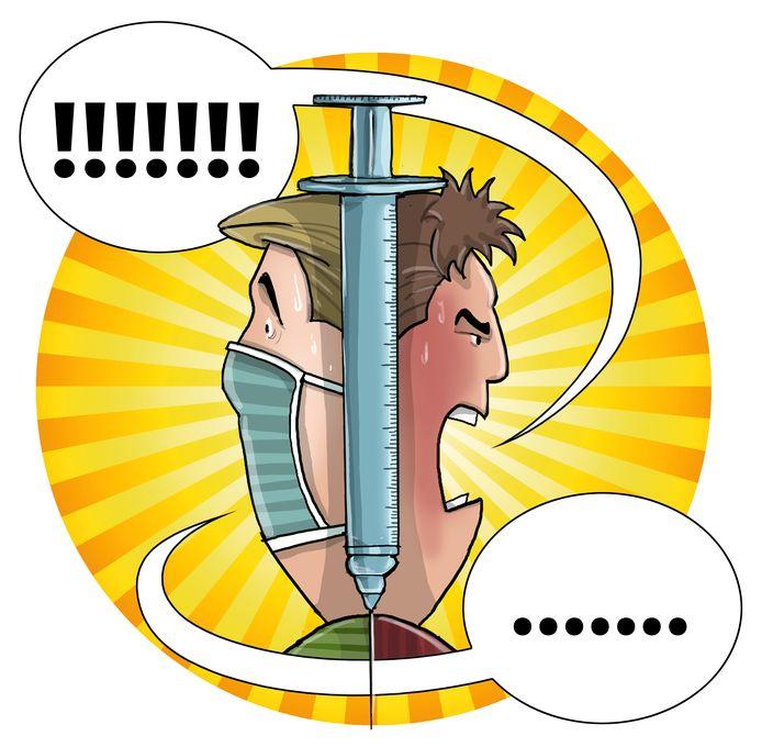 Gevaccineerden en niet-gevaccineerden staan soms lijnrecht tegenover elkaar.