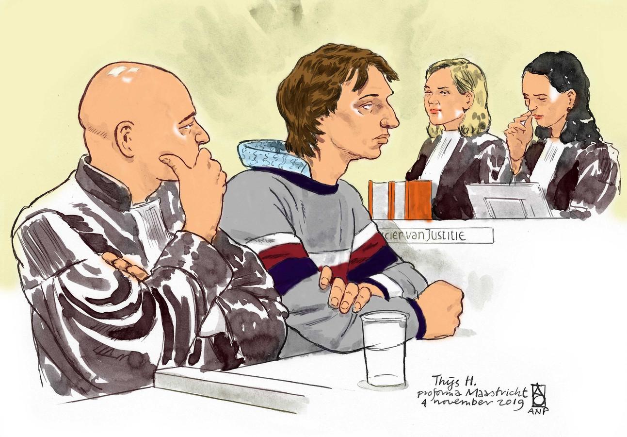 Rechtbanktekening van Thijs H. De 28-jarige Limburger wordt verdacht van het doden van een vrouw in Den Haag en een vrouw en een man op de Brunssummerheide