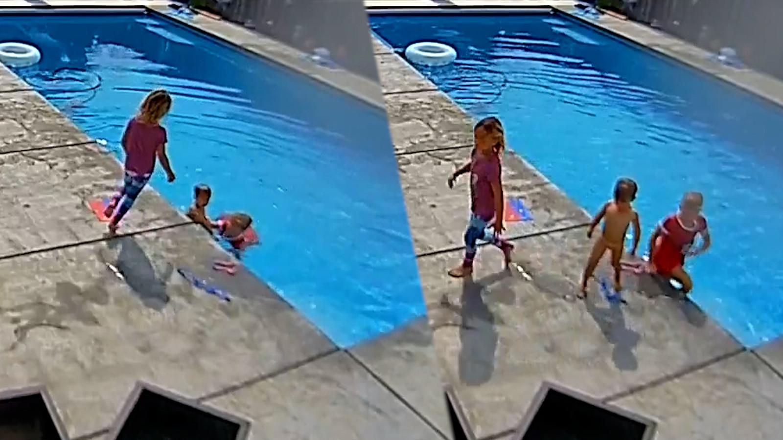 Zusjes redden hun kleine broer van verdrinking