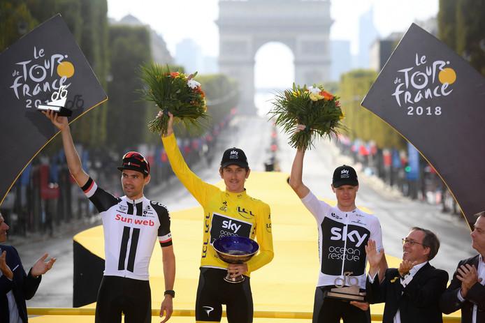 Het Tour-podium van vorig jaar, met vlnr Tom Dumoulin, Geraint Thomas en Chris Froome.