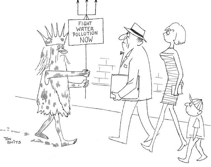 Cartoon Ton Smits, te zien op tentoonstelling in Eindhoven.
