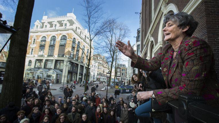 Februari 2015: Louise Gunning spreekt studenten toe. Beeld anp