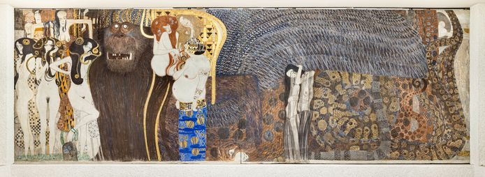 Gustav Klimt, Beethoven-fries, smalle muur (The Hostile Forces), Secession, Wenen.