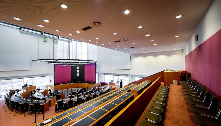 De raadzaal in het stadhuis van Amsterdam. Beeld KOEN VAN WEEL / ANP