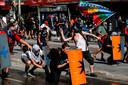 Betogers in Chili in gevecht met de politie.