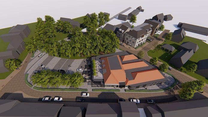 Impressie van het toekomstige Alard van Herpenplein, met centraal het uitgebreide horecapand van Thekes en op de achtergrond het nieuwe appartementencomplex op de plek van Doeland.
