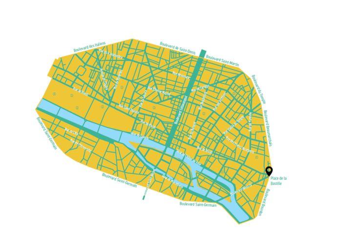 De plattegrond van een 'rustig' Parijs.