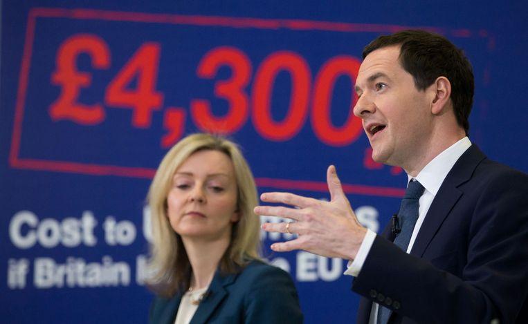 Britse minister van Financiën George Osborne (rechts) en de Britse minister van Milieu Liz Truss. Beeld anp