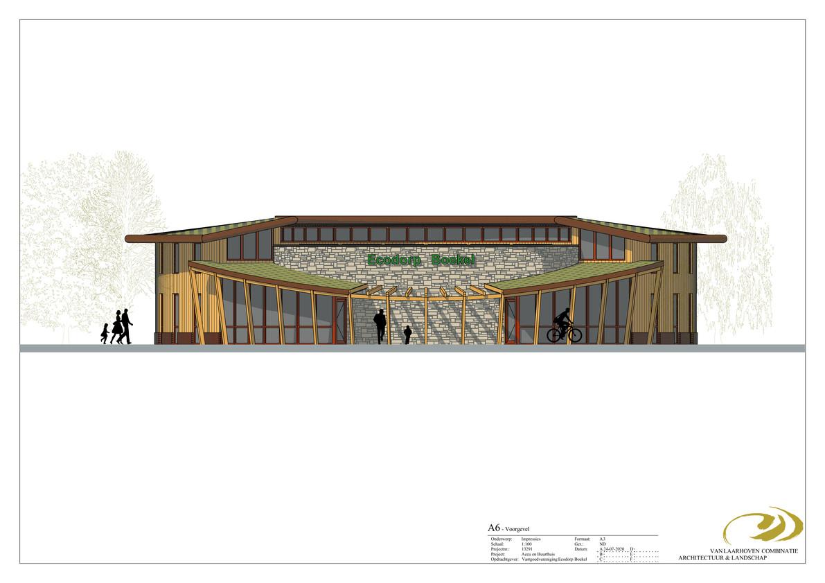 Het voorlopige ontwerp van het kennis- en educatiecentrum dat bij het Boekelse ecodorp moet gaan verrijzen