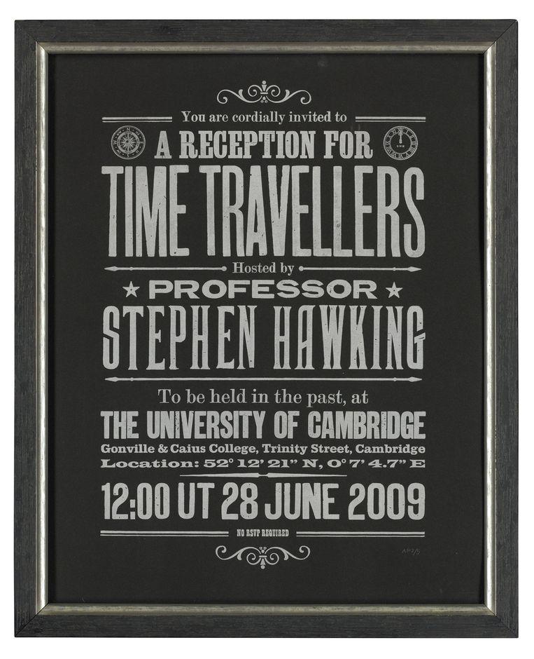 Stephen Hawking's 'Time Travellers' uitnodiging.  Beeld
