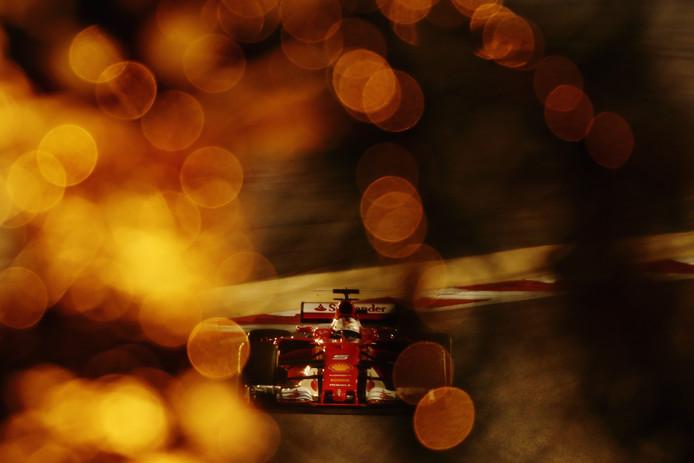 Sebastian Vettel tijdens de GP van Bahrein.