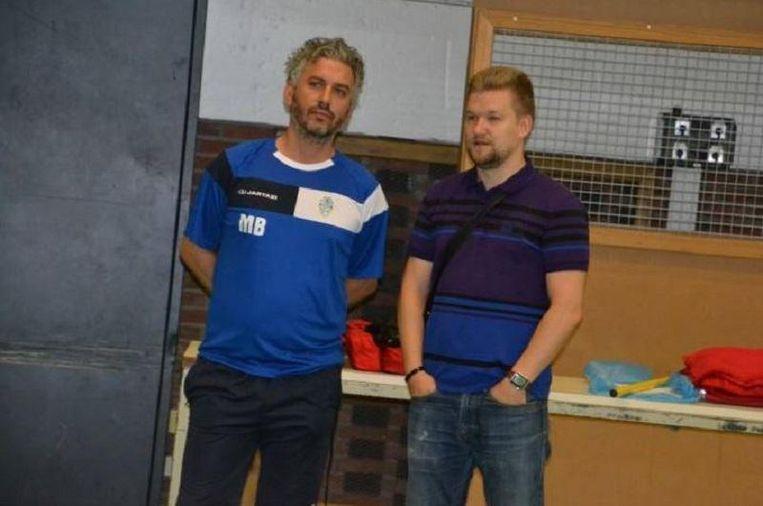 Massimiliano Bellarte naast Lieven Baert, manager bij Halle-Gooik. Beeld Facebook FP Halle-Gooik